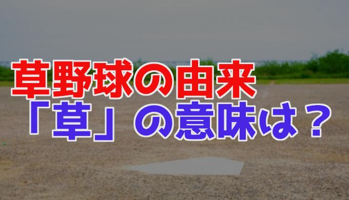 草野球の名前の由来(語源)や意味とは?なぜ「草」の字が使われた